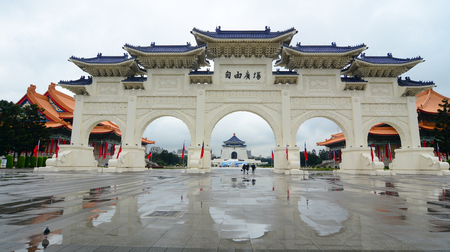 viewable: Taipei, Taiwan - Jan 6, 2016. The Chinese archways located on Liberty Square in Taipei, Taiwan. Famous Chiang Kai-Shek Memorial Hall viewable in the middle of the arches. Editorial