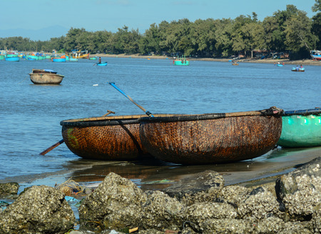 ne: Basket boats at the Co Thach fishing village in Binh Thuan, Vietnam. Editorial