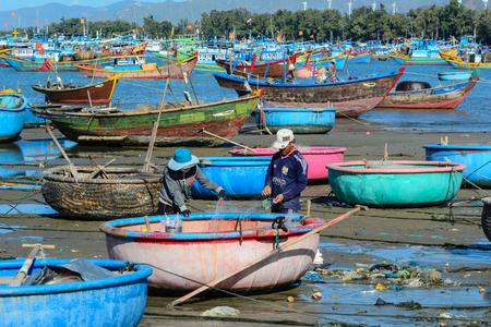 Nha Trang, Vietnam - Jan 28, 2016. A fishing village in Nha Trang, Vietnam. Vietnam is a country with a coastline 3400 km long, with many beautiful coastal cities. Editorial
