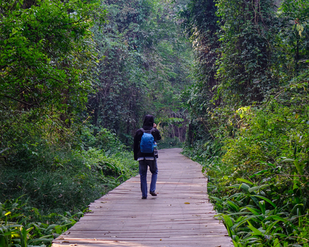 An Asian man with backpack walking on the wooden bridge at jungle in sunny day. Stock Photo
