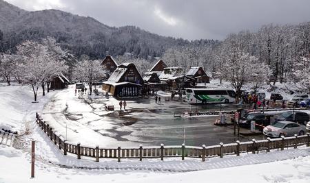 Gifu, Japan - Dec 29, 2015. Many ancient houses located at Shirakawa-go village in winter.