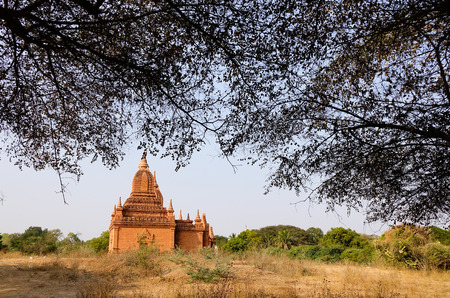 nascent: Ancient Buddhist temple with many trees in Bagan, Myanmar. The Bagan Archaeological Zone is a main draw for the country nascent tourism industry. Stock Photo