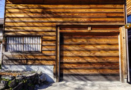 Facafe of wooden house at Historic Villages of Shirakawa-go in Gifu, Japan.