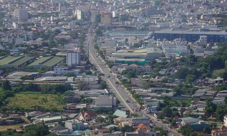 steadily: Yangon, Myanmar - Feb 14, 2017. Modern buildings with highways in Yangon, Myanmar. The city area has steadily increased to 598.75 square kilometres in 2008.