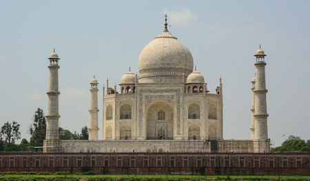 Facade of Taj Mahal in Agra, India. It is one of the worlds most celebrated structures and a symbol of Indias rich history. Stock Photo