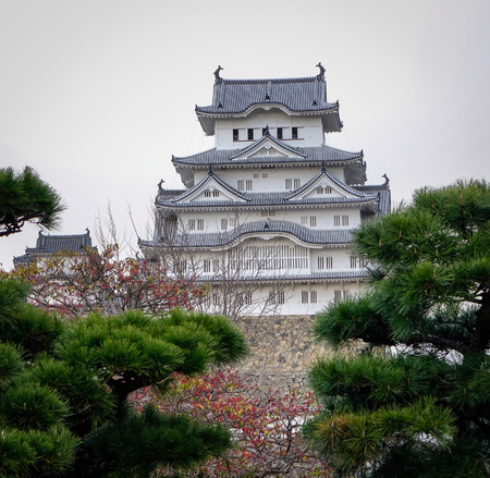 Himeji Castle with the garden in Japan. It was registered in 1993 as one of the first UNESCO World Heritage Sites in the country.