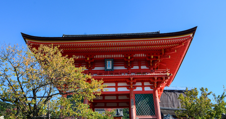 Top of wooden hall of Kiyomizu-dera Temple at sunny day in Kyoto, Japan. Editorial