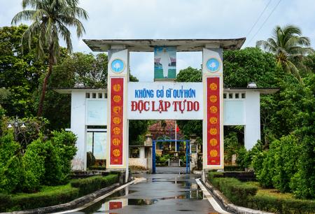 con dao: Con Dao, Vietnam - Sep 9, 2015. The gate of history museum in Con Dao island, southern Vietnam. Con Dao Islands are an archipelago of Ba Ria Province, in the Southeast Vietnam.