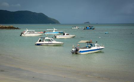 con dao: Con Dao, Vietnam - Sep 9, 2015. Speedboats at jetty in Con Dao island, Vietnam. The Con Dao Islands are an archipelago of Ba Ria Province, in the Southeast Vietnam. Editorial