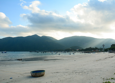 Basket boat on the beach in Con Dao island, Vietnam. The Con Dao Islands are an archipelago of Ba Ria Province, in the Southeast region of Vietnam.