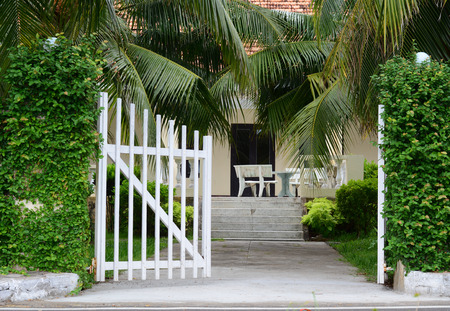 White picket fence with green trees at sunny day in the garden