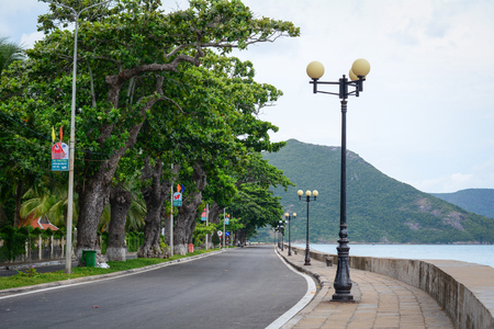 con dao: Con Dao, Vietnam - Sep 7, 2015. The main road with lamp posts in Con Dao island, Vietnam. Con Dao Islands are one of the star attractions in Vietnam. Editorial