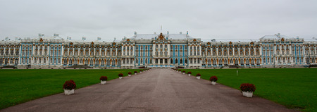 empress: Saint Petersburg, Russia - Oct 11, 2016. View of Catherine Palace in Tsarskoye Selo, Russia. The Palace is a Rococo palace located in the town of Pushkin, 30 km south of St. Petersburg, Russia.