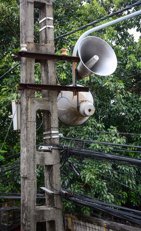 Vintage loudspeakers on street in Hoi An, Vietnam.