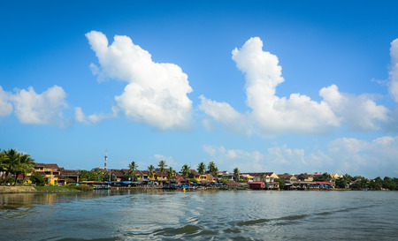 River scene with Hoi An ancient town in Quang Nam, Vietnam.