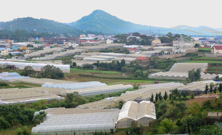 Dalat, Vietnam - Sep 21, 2015. Many houses and plantation at countryside in Dalat, Vietnam. Da Lat is located 1,500 m above sea level on the Langbian Plateau. Editorial