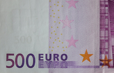 Detail of Five hundreds (500) Euro banknote with the stars