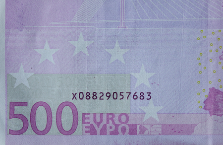 Detail of Five hundreds (500) Euro banknote with series number