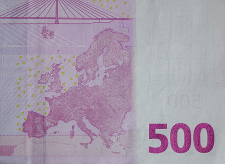 euromoney: Detail of Five hundreds (500) Euro banknote with the map image Stock Photo