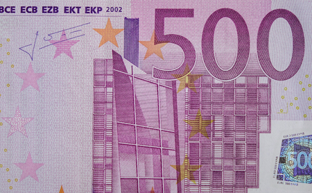 euromoney: Detail of Five hundreds (500) Euro banknote with the signature Stock Photo