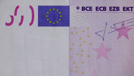 euromoney: Detail of Five hundreds (500) Euro banknote with Europe Union flag