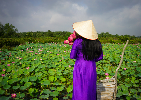 obesum: Vietnamese woman wearing traditional dress (ao dai) with conical hat and lotus flowers at sunrise. Stock Photo