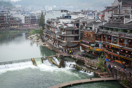 Hunan, China - Nov 6, 2015. View of Fenghuang Ancient Town in Hunan, China. Fenghuang is an old town with the poetic beauty in Fenghuang county of Hunan province. Editorial