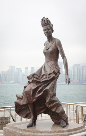 famous industries: Hong Kong - Dec 26, 2014. A actress statue on Avenue of Stars in Hong Kong, China. In 2014, Hong Kong was the eleventh most popular destination for international tourists. Editorial