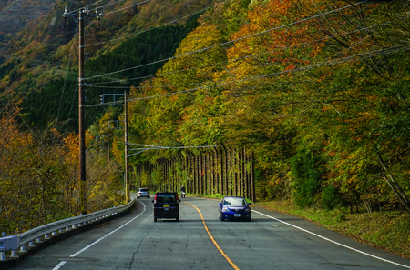 magnificence: Nikko, Japan - Nov 3, 2014. Cars run on mountain road at autumn in Nikko, Japan. Nikko is a popular destination for Japanese and international tourists.