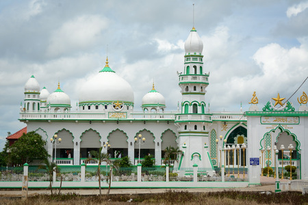 An Giang, Vietnam - Oct 2, 2015. Islamic Mosque located at Chaudoc town in An Giang, Vietnam. An Giang occupies a position in the upper reaches of the Mekong Delta.