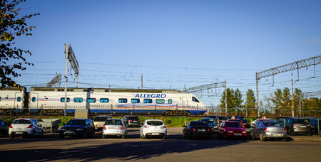 allegro: Vyborg, Russia - Oct 5, 2016. Allegro train stopping at railway station in Vyborg, Russia. Vyborg is 174km northwest of St Petersburg and just 30km from the Finnish border.