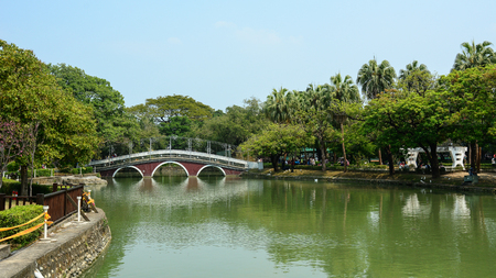 Taichung, Taiwan - Mar 15, 2015. Landscape of city park in Taichung, Taiwan. Taichung is the third largest city in Taiwan, with population of over 2.7 million people. 新闻类图片