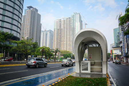Taichung, Taiwan - Mar 16, 2015. BRT station at downtown in Taichung, Taiwan. Taichung is the third largest city in Taiwan, with population of over 2.7 million people. Editorial
