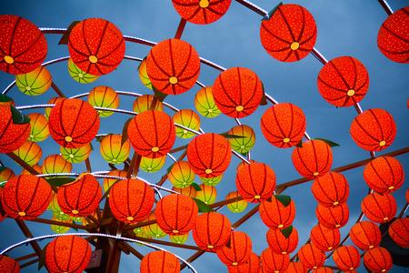 타이 중, 대만 - 2015 년 3 월 15 일. 제등, 타이완에서 랜 턴 축제에서 밤에 제등. 랜턴 축제는 대만에서 가장 큰 민속 문화 행사 중 하나입니다. 스톡 콘텐츠
