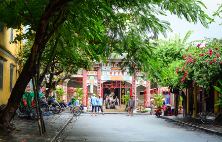 Hoi An, Vietnam - Nov 28, 2015. People on main street in Hoi An Ancient Town, Vietnam. Hoi An is Vietnam most atmospheric and delightful town.