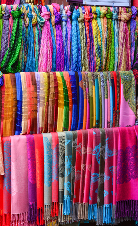 scarves: Colorful textile (neckwear) for sale at Asian street market.