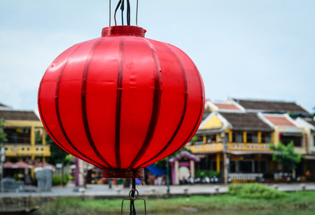 A red lantern hanging in Hoi An Ancient Town, Vietnam. Hoi an, formerly known as Fai-Fo, is a city of Quang Nam Province and noted since 1999 as a UNESCO World Heritage Site.