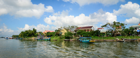 Hoi An, Vietnam - Dec 3, 2015. River scenery with many old houses in Hoi An, Vietnam. Ancient and peaceful, Hoi An is one of the most popular destinations in Vietnam. Editorial