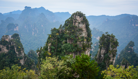 magnificence: Mountains at Zhangjiajie National Park in Hunan, China. Zhangjiajie is known as the home of the Avatar Mountains.