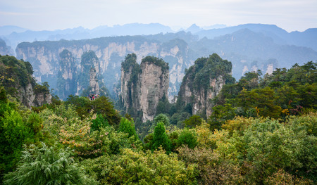 magnificence: Rock mountains at Zhangjiajie National Park in Hunan, China. Zhangjiajie is considered one of the most beautiful places in China. Stock Photo