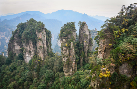 magnificence: Rock mountains with trees at Zhangjiajie National Park in Hunan, China. Zhangjiajie is a unique national forest park located in northern Hunan Province.