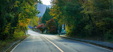 Nikko, Japan - Nov 3, 2014. Mountain road with many trees in Nikko, Japan. Nikko is a town at the entrance to Nikko National Park, most famous for Toshogu. Editorial