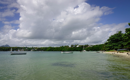 Seascape of the Ile Aux Cerfs Island, Flacq, Mauritius. The island is one of the must place to visit and see in Mauritius.