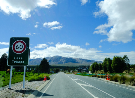 Mackenzie, New Zealand - Nov 3, 2016. Highway to the Lake Tekapo in Mackenzie, New Zealand. The Lake Tekapo is a popular tourist destination.
