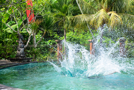 inground: People playing on the swimming pool at luxury resort in Bali, Indonesia. Stock Photo
