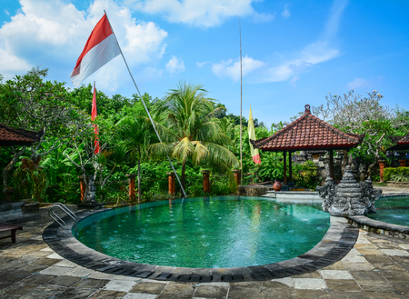 Bali, Indonesia - Apr 22, 2016. Swimming pool at luxury resort in Bali, Indonesia. Bali received the Best Island award from Travel and Leisure in 2010. Editorial