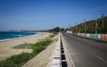 Nha Trang, Vietnam - Mar 26, 2017. View of the highway from Nha Trang to Dalat near the tropical sea in Vietnam. The total length of the Viet Nam road system is about 222,179 km. Editorial