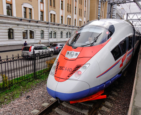 Saint Petersburg, Russia - Oct 5, 2016. A Sapsan high-speed train on the track in Saint Petersburg, Russia. High-speed rail is emerging in Russia as an increasingly popular means of transport.