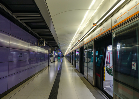 Hong Kong - Mar 31, 2017. Subway station in Hong Kong, China. Hong Kong is an important hub in East Asia with global connections to many of the world cities.