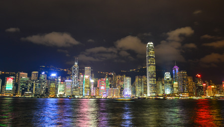 Hong Kong - Mar 31, 2017. Cityscape of Hong Kong at night. The Hong Kong Stock Exchange is the sixth largest in the world, with a market capitalisation of about USD 2.97 trillion. Editorial